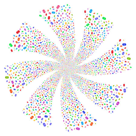 Discount Tag fireworks swirl rotation. Vector illustration style is flat bright multicolored iconic symbols on a white background. Object whirlpool created from random symbols.