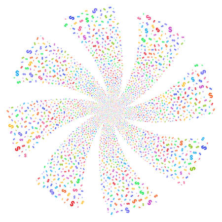 Dollar fireworks swirl rotation. Vector illustration style is flat bright multicolored iconic symbols on a white background. Object twirl done from random pictographs.