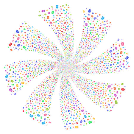Dustbin fireworks swirl rotation. Vector illustration style is flat bright multicolored iconic symbols on a white background. Object twirl created from random icons.