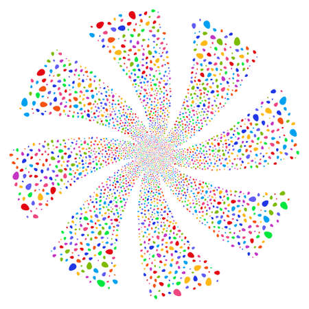 Egg fireworks swirl rotation. Vector illustration style is flat bright multicolored iconic symbols on a white background. Object flower made from random icons. Illustration