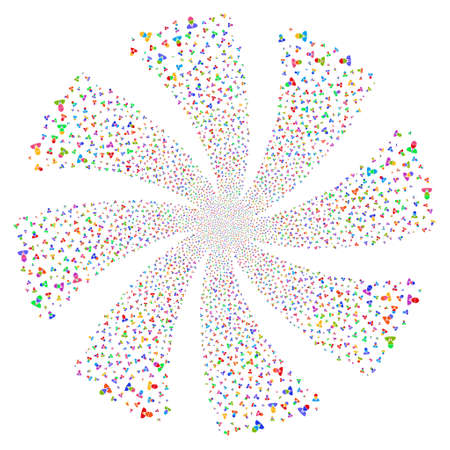 Engineer fireworks swirl rotation. Vector illustration style is flat bright multicolored iconic symbols on a white background. Object twirl organized from random pictograms.