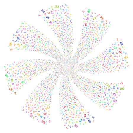 email bomb: Envelope fireworks swirl rotation. Vector illustration style is flat bright multicolored iconic symbols on a white background. Object twirl done from random symbols.