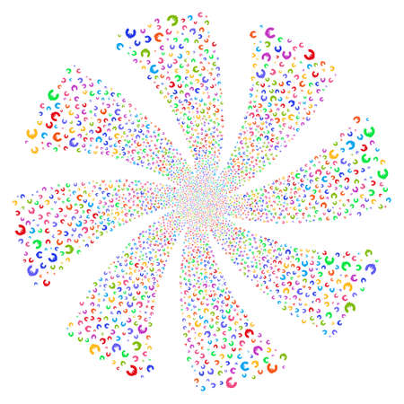 Euro fireworks swirl rotation. Vector illustration style is flat bright multicolored iconic symbols on a white background. Object whirlpool done from random pictographs. Illustration