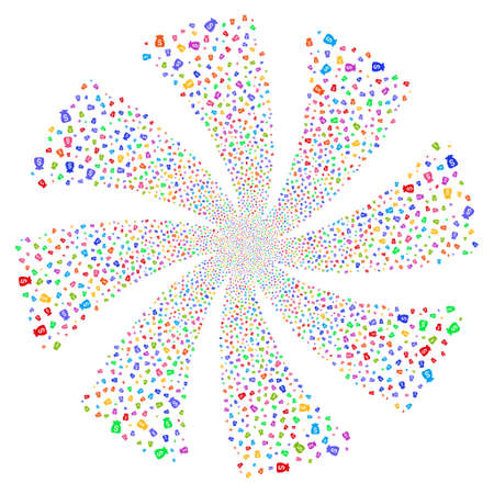 profit celebration: Financial Capital fireworks swirl rotation. Vector illustration style is flat bright multicolored iconic symbols on a white background. Object flower constructed from random pictograms.