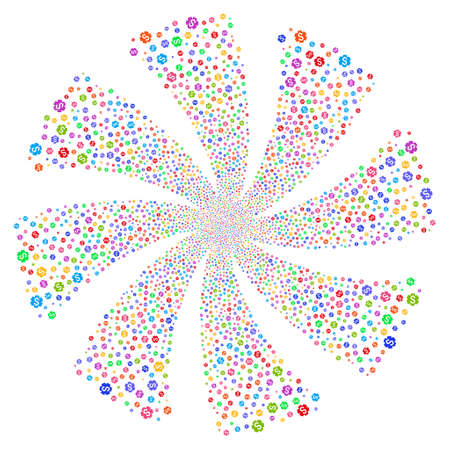 Financial Settings Gear fireworks swirl rotation. Vector illustration style is flat bright multicolored iconic symbols on a white background. Object whirlpool created from random pictograms. Ilustrace