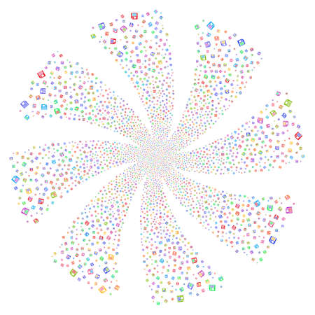 Floppy Disk fireworks swirl rotation. Vector illustration style is flat bright multicolored iconic symbols on a white background. Object flower created from random pictographs. Illustration