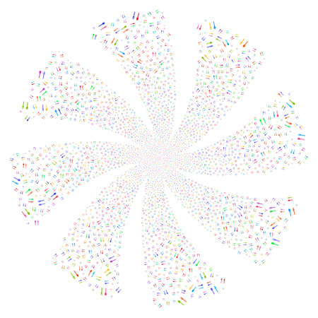 Fork And Spoon fireworks swirl rotation. Vector illustration style is flat bright multicolored iconic symbols on a white background. Object whirl combined from random symbols. Illustration