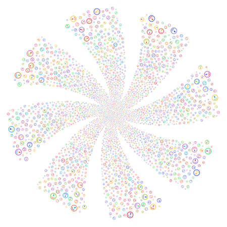 Gauge fireworks swirl rotation. Vector illustration style is flat bright multicolored iconic symbols on a white background. Object whirlpool combined from random pictographs. Illustration