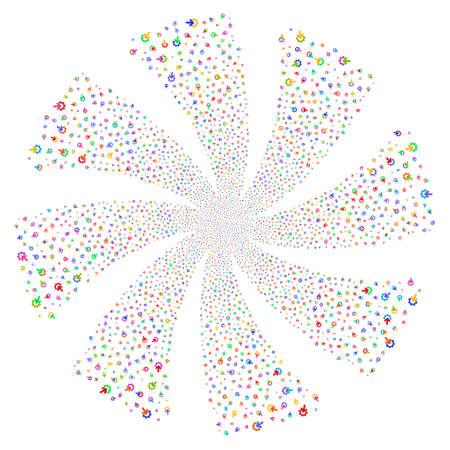 Gear Integration fireworks swirl rotation. Vector illustration style is flat bright multicolored iconic symbols on a white background. Object spiral done from random pictograms.