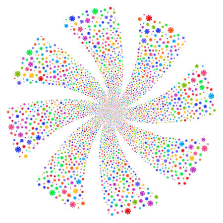 Gear fireworks swirl rotation. Vector illustration style is flat bright multicolored iconic symbols on a white background. Object whirl constructed from random pictographs.