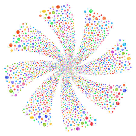 Globe fireworks swirl rotation. Vector illustration style is flat bright multicolored iconic symbols on a white background. Object twirl organized from random icons. Illustration