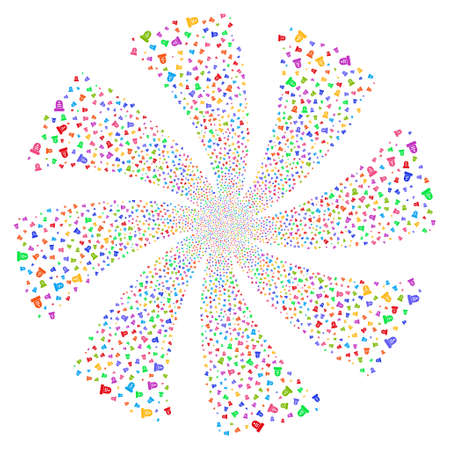 Grave fireworks swirl rotation. Vector illustration style is flat bright multicolored iconic symbols on a white background. Object whirlpool created from random symbols.