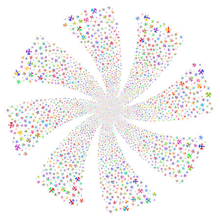 Hammers fireworks swirl rotation. Vector illustration style is flat bright multicolored iconic symbols on a white background. Object twirl constructed from random pictographs.