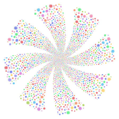 Hypnosis fireworks swirl rotation. Vector illustration style is flat bright multicolored iconic symbols on a white background. Object flower constructed from random pictograms.