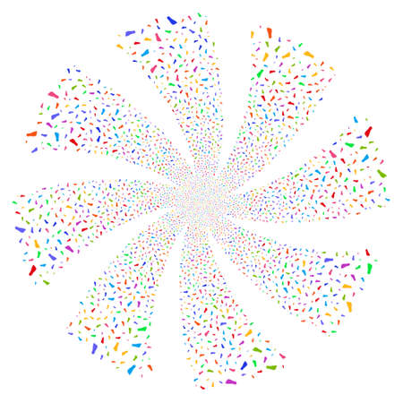Human Footprint fireworks swirl rotation. Vector illustration style is flat bright multicolored iconic symbols on a white background. Object whirl created from random icons.