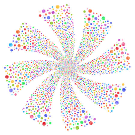 Internet fireworks swirl rotation. Vector illustration style is flat bright multicolored iconic symbols on a white background. Object spiral combined from random icons.