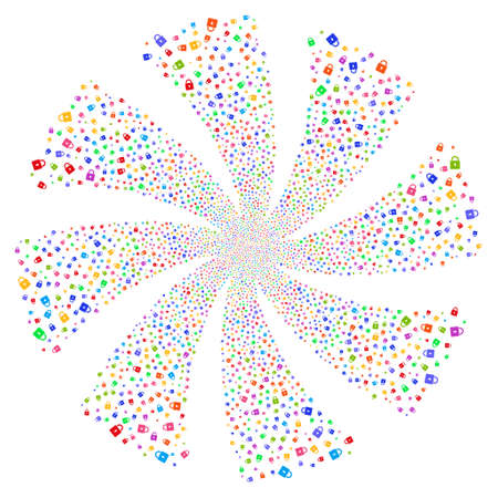 Lock fireworks swirl rotation. Vector illustration style is flat bright multicolored iconic symbols on a white background. Object flower created from random symbols.