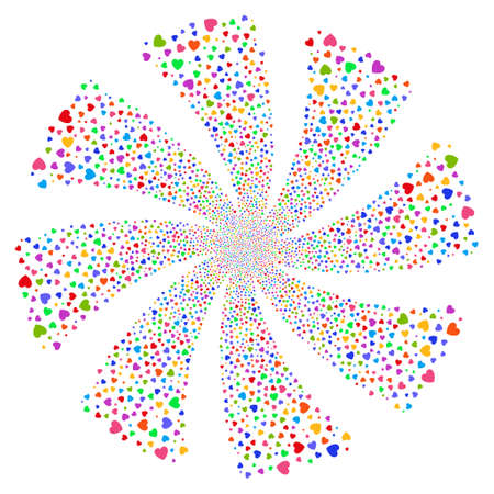 Love Heart fireworks swirl rotation. Vector illustration style is flat bright multicolored iconic symbols on a white background. Object flower combined from random pictographs.
