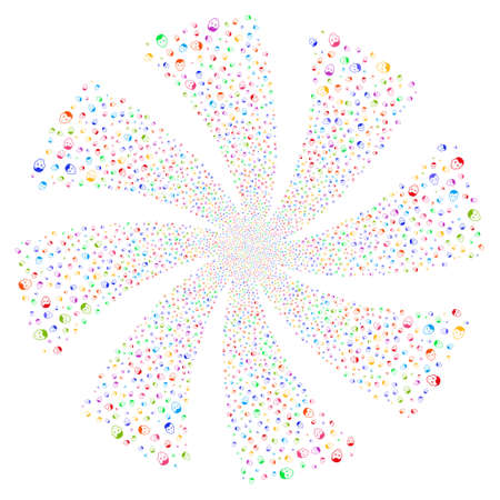new account: Man Head fireworks swirl rotation. Vector illustration style is flat bright multicolored iconic symbols on a white background. Object twirl constructed from random pictographs.