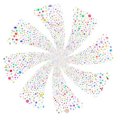 Medical Symbols fireworks swirl rotation. Vector illustration style is flat bright multicolored iconic symbols on a white background. Object twirl organized from random symbols.