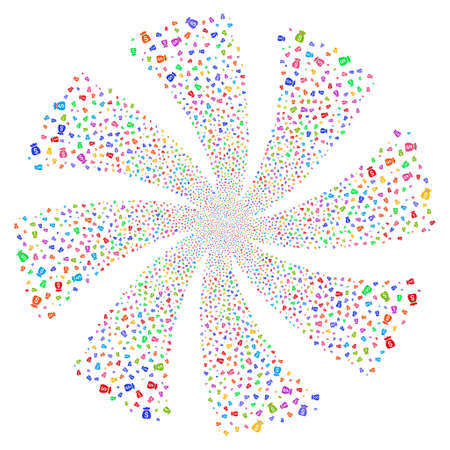 Money Bag fireworks swirl rotation. Vector illustration style is flat bright multicolored iconic symbols on a white background. Object whirlpool combined from random pictographs.