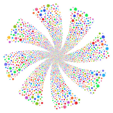 Network fireworks swirl rotation. Vector illustration style is flat bright multicolored iconic symbols on a white background. Object spiral made from random icons.