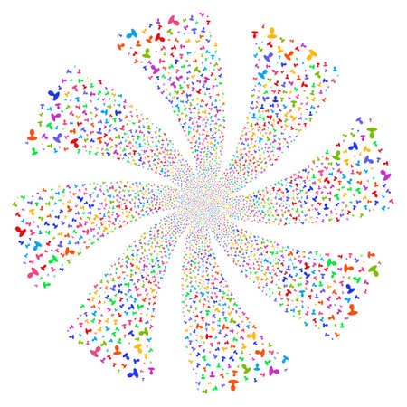 Person fireworks swirl rotation. Vector illustration style is flat bright multicolored iconic symbols on a white background. Object flower organized from random symbols.
