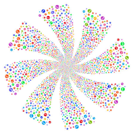 Phone Number fireworks swirl rotation. Vector illustration style is flat bright multicolored iconic symbols on a white background. Object whirlpool created from random symbols.