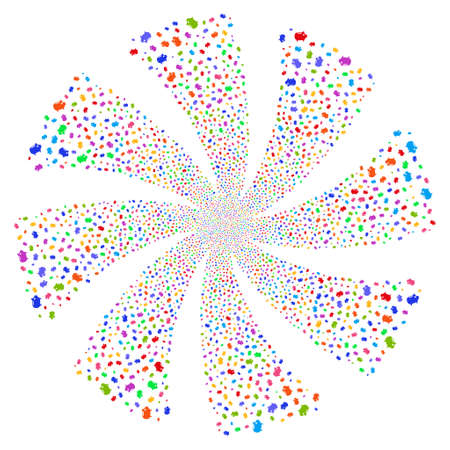 Piggy Bank fireworks swirl rotation. Vector illustration style is flat bright multicolored iconic symbols on a white background. Object whirlpool created from random design elements.