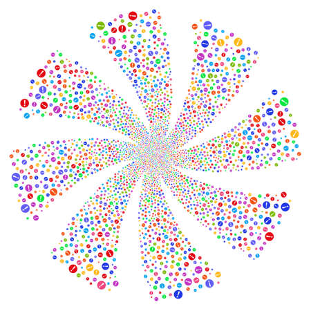 Problem fireworks swirl rotation. Vector illustration style is flat bright multicolored iconic symbols on a white background. Object whirlpool created from random pictograms.