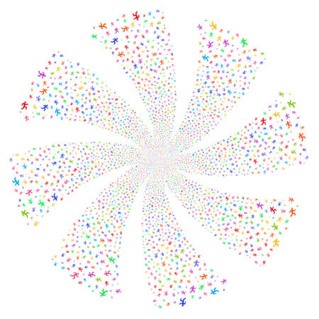 Running Man fireworks swirl rotation. Vector illustration style is flat bright multicolored iconic symbols on a white background. Object flower combined from random pictograms.