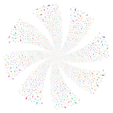 Spermatozoon fireworks swirl rotation. Vector illustration style is flat bright multicolored iconic symbols on a white background. Object flower done from random pictographs. Illustration