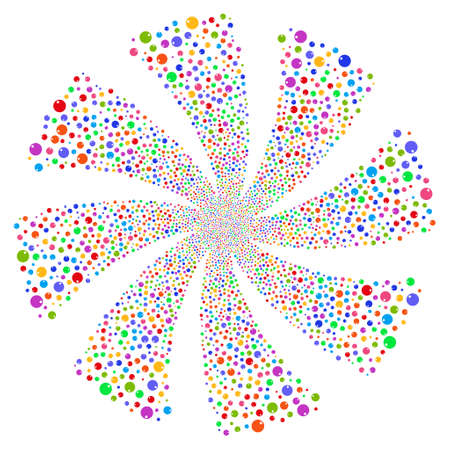 salute: Sphere fireworks swirl rotation. Vector illustration style is flat bright multicolored iconic symbols on a white background. Object whirl constructed from random icons. Illustration