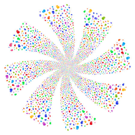 Stop Hand fireworks swirl rotation. Vector illustration style is flat bright multicolored iconic symbols on a white background. Object whirlpool combined from random pictograms.