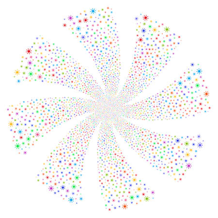 brightness: Sun fireworks swirl rotation. Vector illustration style is flat bright multicolored iconic symbols on a white background. Object whirlpool combined from random pictographs.