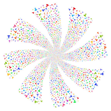 Unknown Person fireworks swirl rotation. Vector illustration style is flat bright multicolored iconic symbols on a white background. Object spiral created from random icons.
