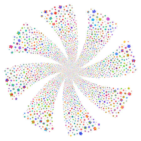 social movement: Users fireworks swirl rotation. Vector illustration style is flat bright multicolored iconic symbols on a white background. Object twirl constructed from random design elements. Illustration