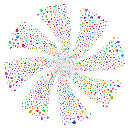 Valentine Petals fireworks swirl rotation. Vector illustration style is flat bright multicolored iconic symbols on a white background. Object whirl done from random icons.