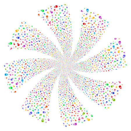 Vial fireworks swirl rotation. Vector illustration style is flat bright multicolored iconic symbols on a white background. Object flower organized from random pictographs.
