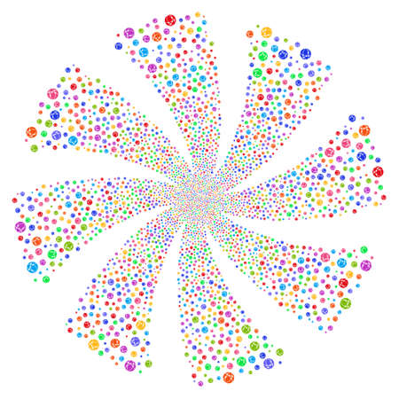 Web Browser fireworks swirl rotation. Vector illustration style is flat bright multicolored iconic symbols on a white background. Object whirl done from random icons. Illustration