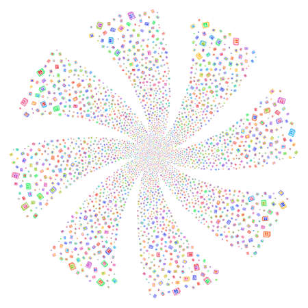 articles: Newspaper fireworks swirl rotation. Vector illustration style is flat bright multicolored iconic symbols on a white background. Object spiral created from random symbols.
