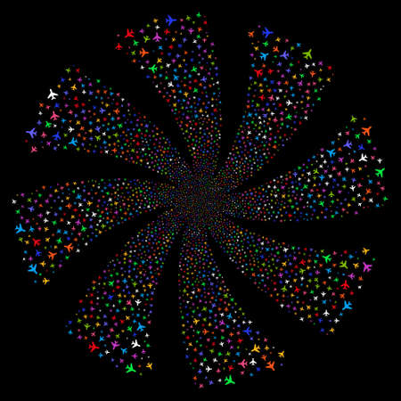 Air Plane fireworks swirl rotation. Raster illustration style is flat bright multicolored iconic symbols on a black background. Object spiral made from random design elements.