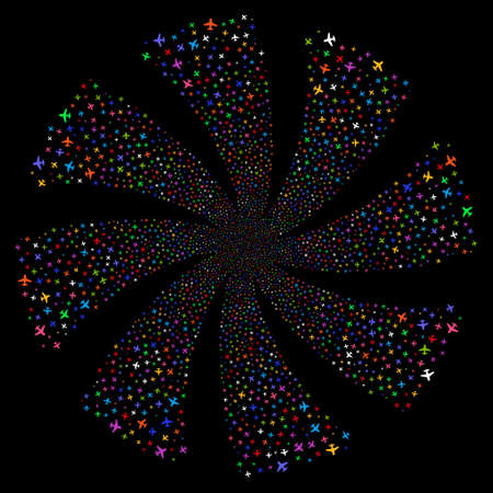 Airplane fireworks swirl rotation. Raster illustration style is flat bright multicolored iconic symbols on a black background. Object flower created from random symbols.