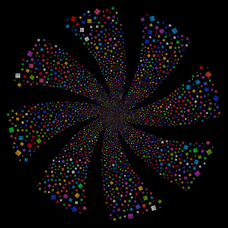 Books fireworks swirl rotation. Raster illustration style is flat bright multicolored iconic symbols on a black background. Object twirl created from random pictograms.
