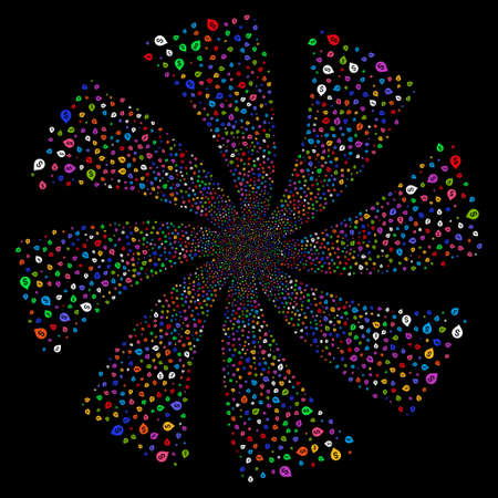 Banking Map Marker fireworks swirl rotation. Raster illustration style is flat bright multicolored iconic symbols on a black background. Object spiral created from random pictographs.