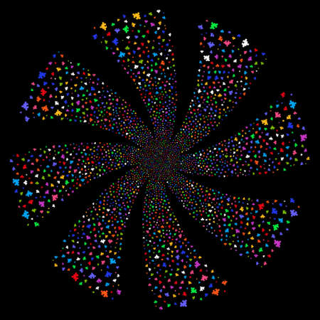 Component fireworks swirl rotation. Raster illustration style is flat bright multicolored iconic symbols on a black background. Object whirl done from random pictographs.