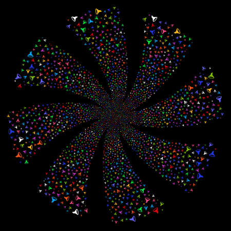 Filter fireworks swirl rotation. Raster illustration style is flat bright multicolored iconic symbols on a black background. Object flower created from random pictographs.