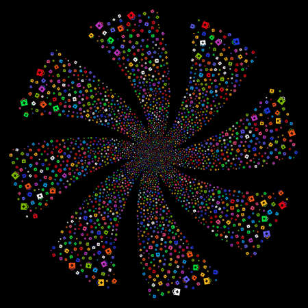 First Aid Kit fireworks swirl rotation. Raster illustration style is flat bright multicolored iconic symbols on a black background. Object whirlpool combined from random pictograms.