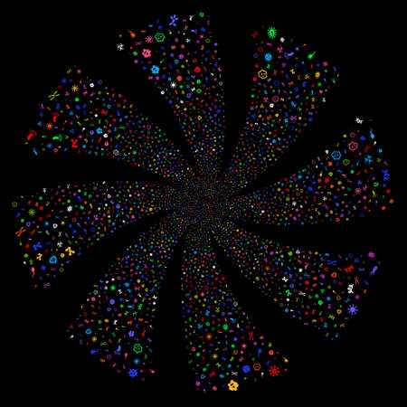 Microbes fireworks swirl rotation. Raster illustration style is flat bright multicolored iconic symbols on a black background. Object twirl created from random symbols. Stock Photo