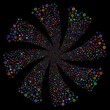 Gear fireworks swirl rotation. Raster illustration style is flat bright multicolored iconic symbols on a black background. Object flower done from random pictograms. Stock Photo